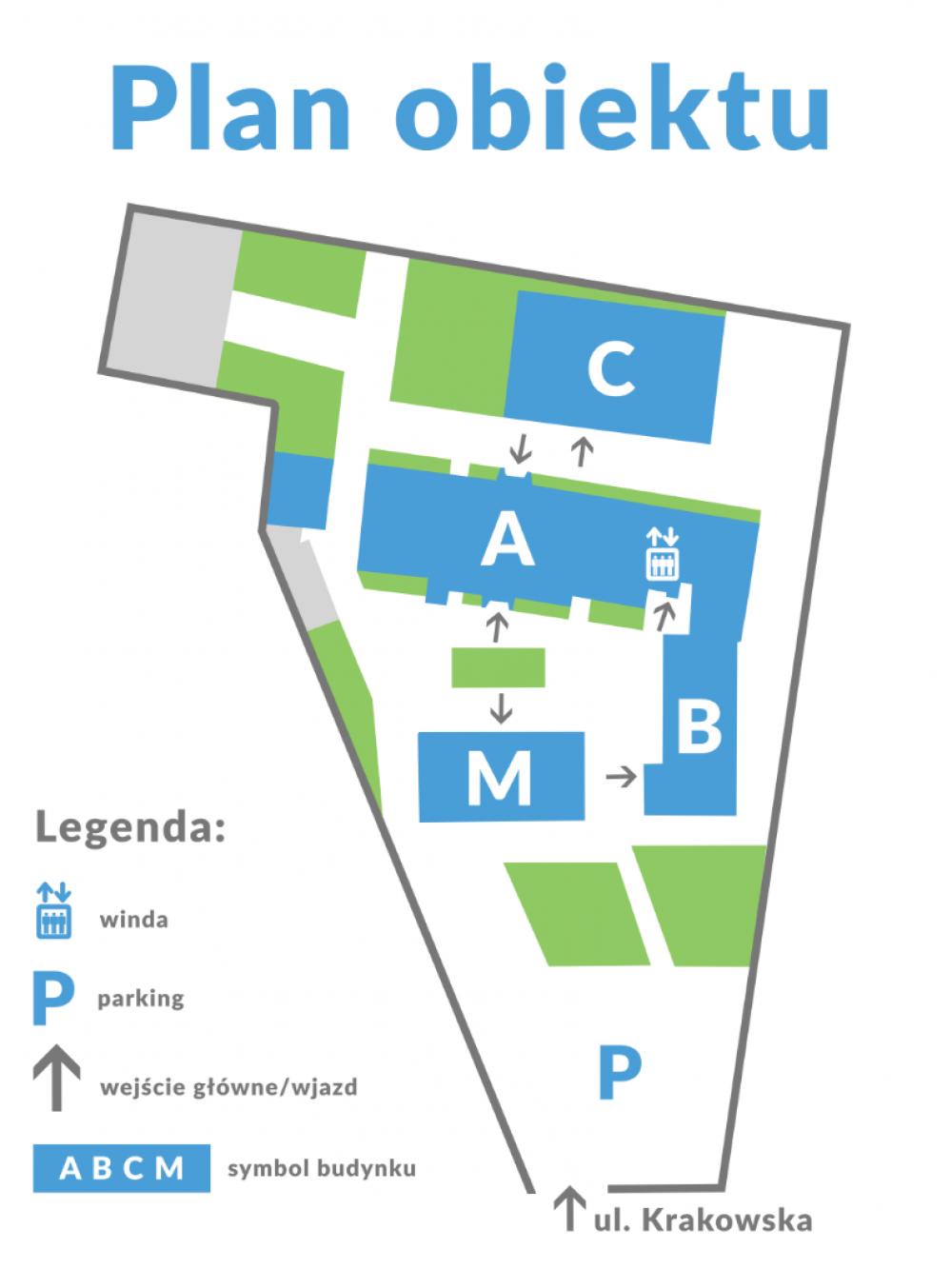 Plan rozmieszczenia budynków w Synergy Trainings